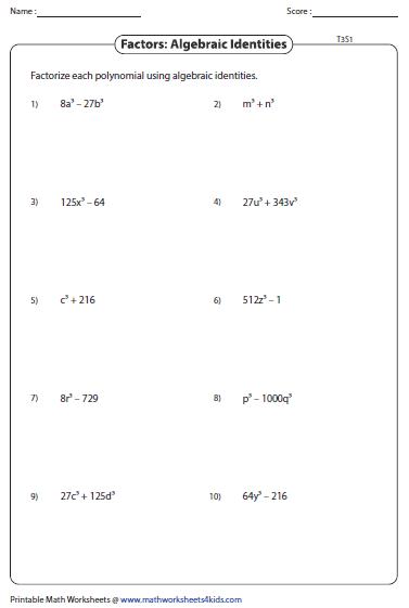 Factoring Cubic Polynomials Worksheet Pdf