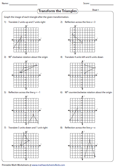 Transformations In The Coordinate Plane Worksheet
