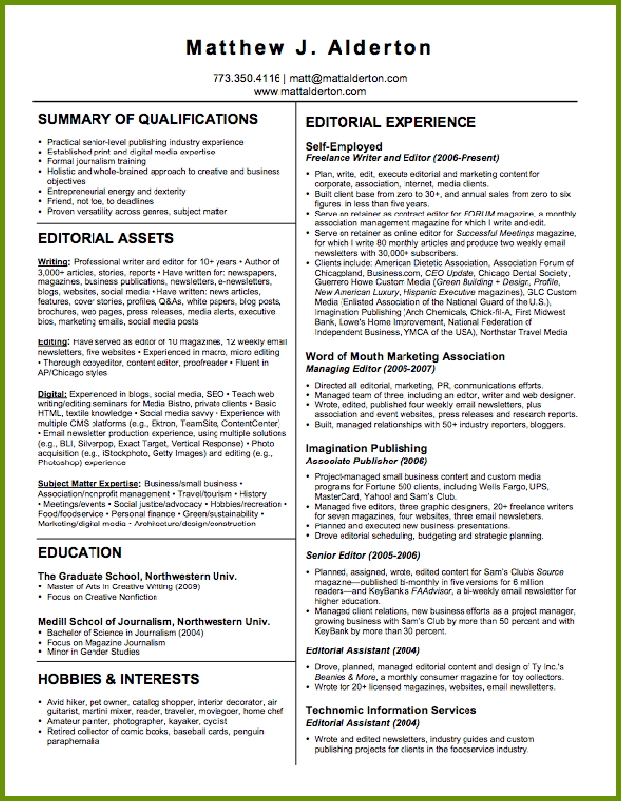 sample resume of a freelance writer