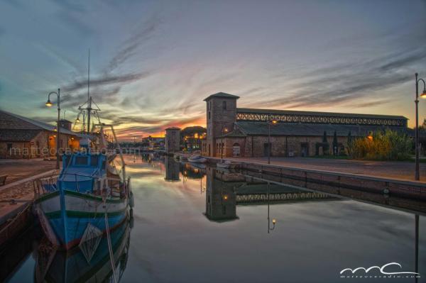 canale tramonto, foto cervia, magazzini del sale, canale cervia, borgo marina