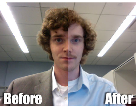 Matthew Hurst's before and after from Movember 2010