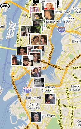 Mapping my friend's location on Foursquare in NYC