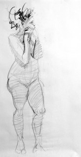 life model ruby in pencil standing with both hands close to chin, leaning on pole