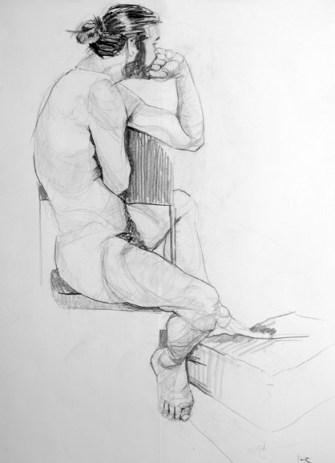 life model ruby in pencil sat side on, one arm resting on a bent leg, the other (closest) taking her weight