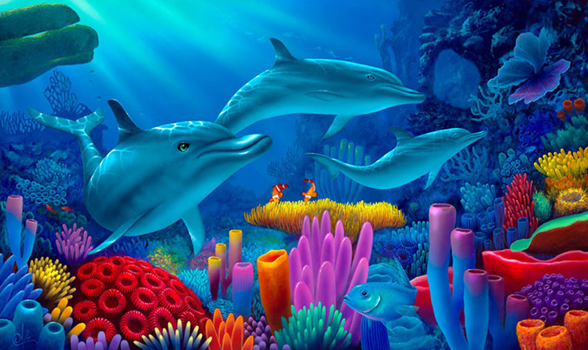 3d Live Animated Wallpaper Download For Windows 7 Dolphin Painting Secrets Of The Sea