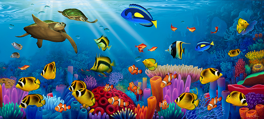 Living 3d Dolphins Animated Wallpaper Windows 7 Turtle Painting Ocean Of Color