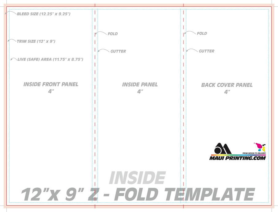 Maui Printing Company Inc 12 x 9 Z fold brochure Template