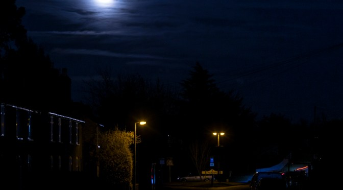 Maulden Moonlit view of the approach to the village under a full moon
