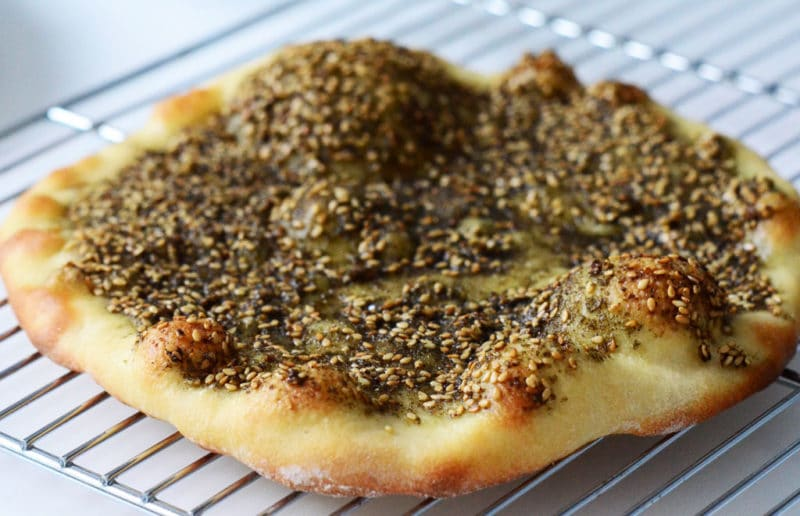 Lebanese man\u0027oushe, za\u0027atar flatbread - Rose Water  Orange Blossoms