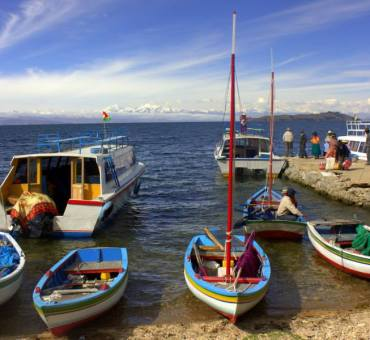 A blue Lake Titicaca day