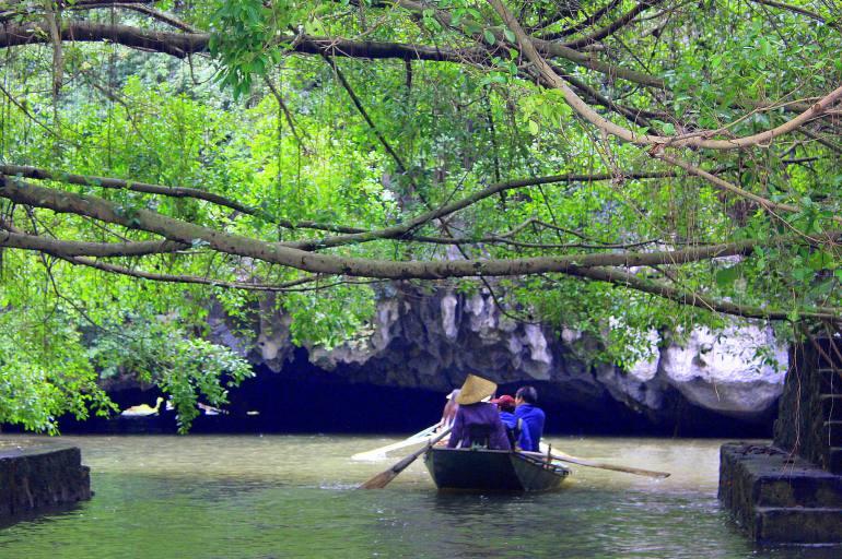Limestone karsts scenery of Tam Coc in Ninh Binh