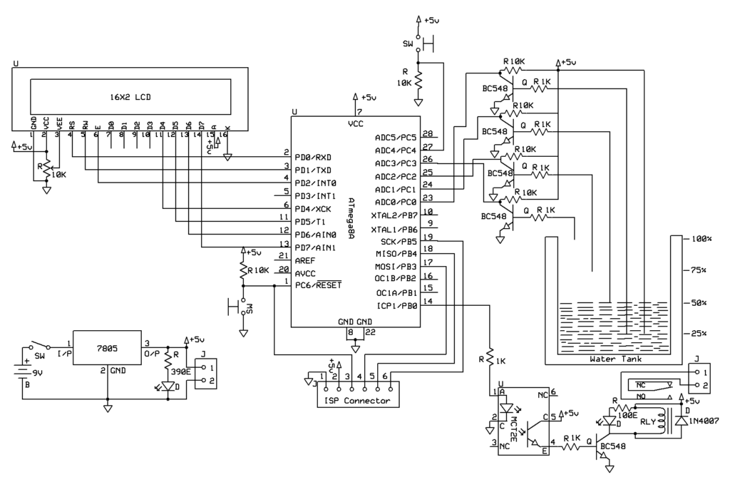 automatic water tank level controller circuit