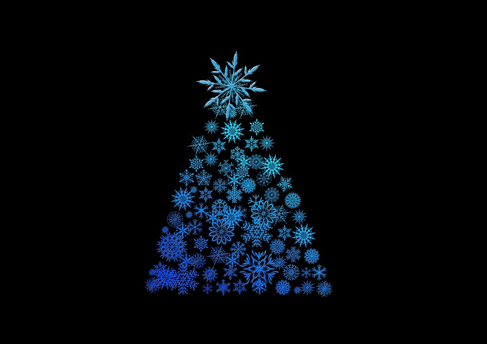 Free photo Black Background Blue Structure Christmas Tree - Max Pixel