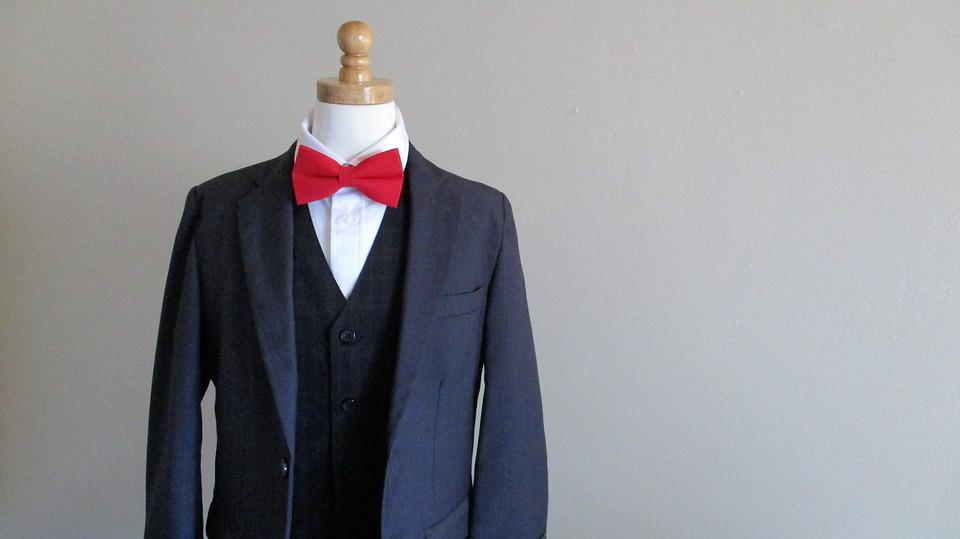 Free photo Blue Suit Bowtie Formal Business Red Bow Tie