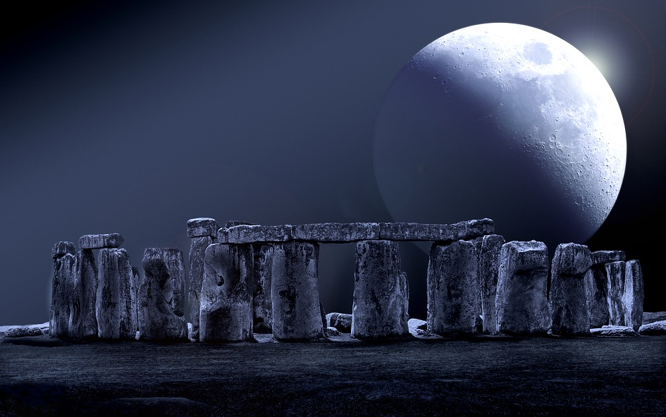 Black And White Flower Wallpaper Free Photo Stone Circle Full Moon Moon Stonehenge Night