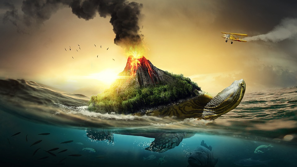 Wallpaper Sunset 3d Free Photo Sunset Turtle Sea Volcano Beautiful Nature Fish