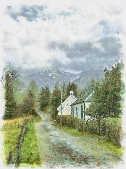 Black White Wallpaper Free Photo Mountains Scenery Highlands Glencoe Trees