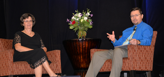 Ann Edelen and Dr. George Mandybur discuss deep brain stimulation at the 2016 Sunflower Rev-It-Up Symposium & Expo.
