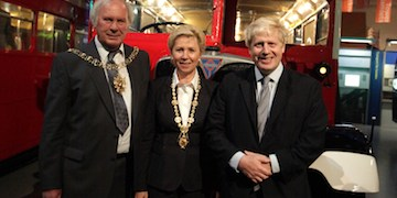 (L to R) Lord Mayor of Coventry Brian Kelsey, Mayor of Dresden Helma Orosz and Mayor of London Boris Johnson. Photo credit: James O Jenkins