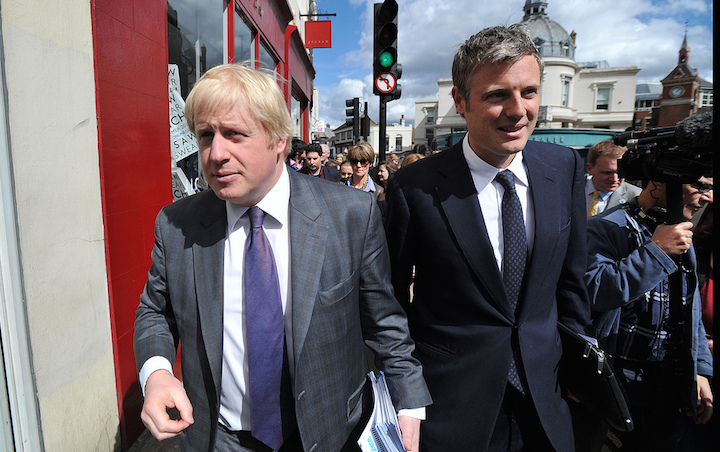 Boris Johnson, the Mayor of London and Zac Goldsmith on a walk about in Richmond to launch his bid to be re-elected as The London Mayor Photo: Andrew Parsons/i-Images