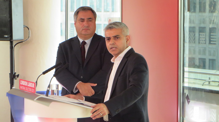 Sadiq Khan addresses party supporters after his victory, accompanied by regional chair Len Duvall.