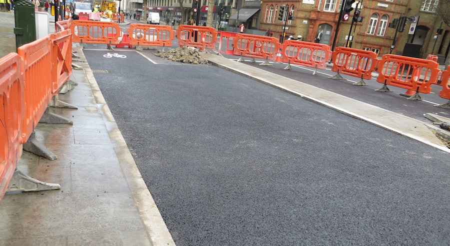 The re-surfaced section of the Superhighway. Image: TfL
