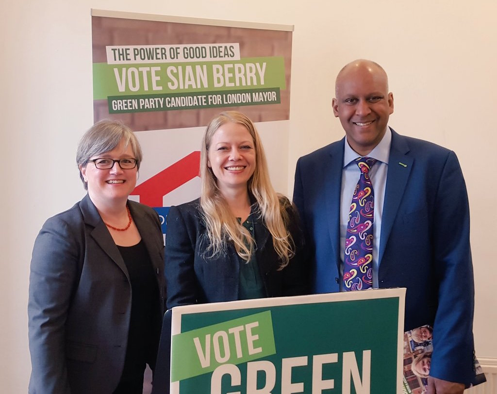 Sian Berry (centre) with Caroline Russell and Sharer Ali, candidates for the London Assembly. Image: London Green Party