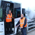 Deputy mayor Val Shawcross demonstrates the new lorries