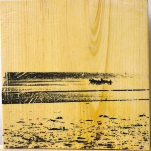 Fine art photography on wood of trap racing horses on Utah Beach in France