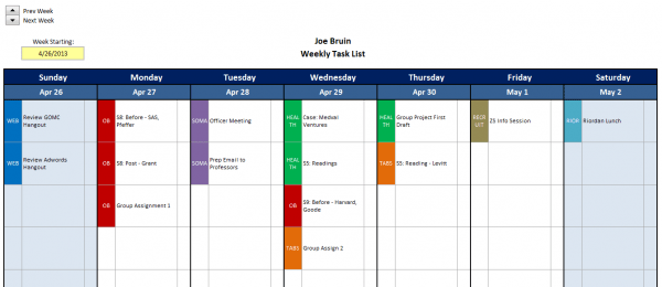 Excel Template Mba Excel Homework Tracker