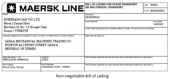 Non-Negotiable Bill of Lading Definition Operations  Supply Chain