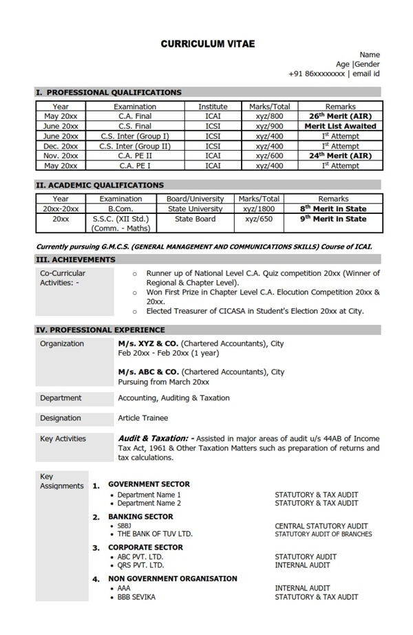 professional resume format for ca articleship professional