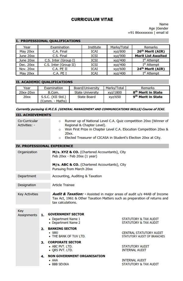 resume for internship ca