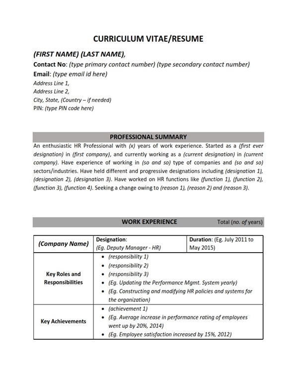 Resume/CV Sample Format - Human Resources HR (Work Experience) MBA