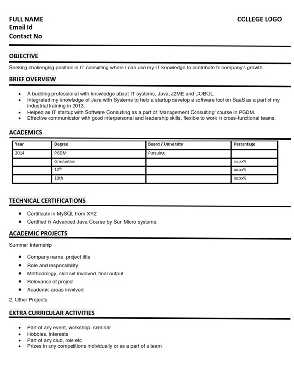Resume/CV Sample Format - Information Technology IT Fresher MBA