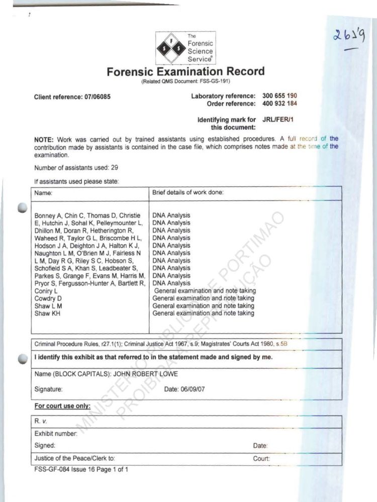 The Forensic Science Service® / Lowe report - Page 3 - The Maddie - forensic report