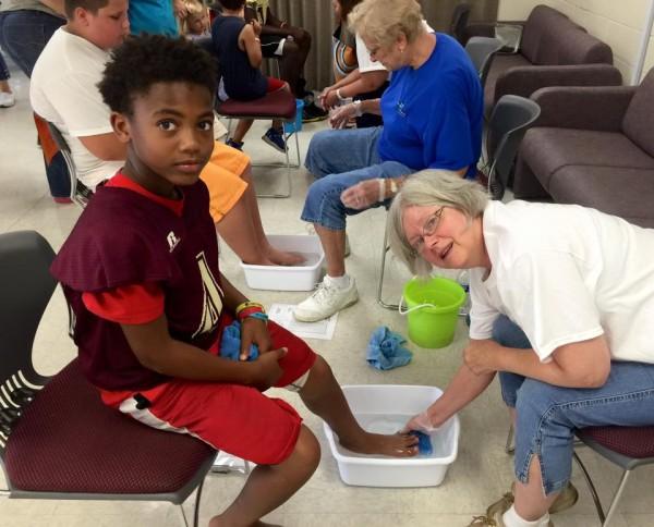 This young man enjoyed Janet's foot washing