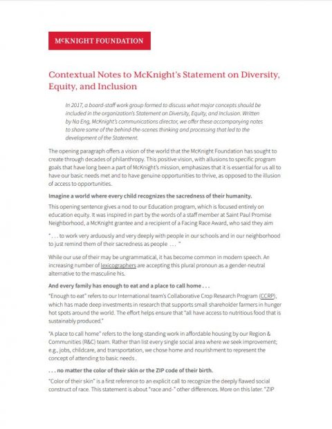 Contextual Notes to McKnight\u0027s Statement on Diversity, Equity, and