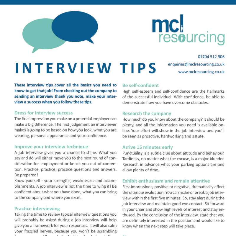 MCL Resourcing\u0027s Interview Tips - MCL Resourcing - first interview tips