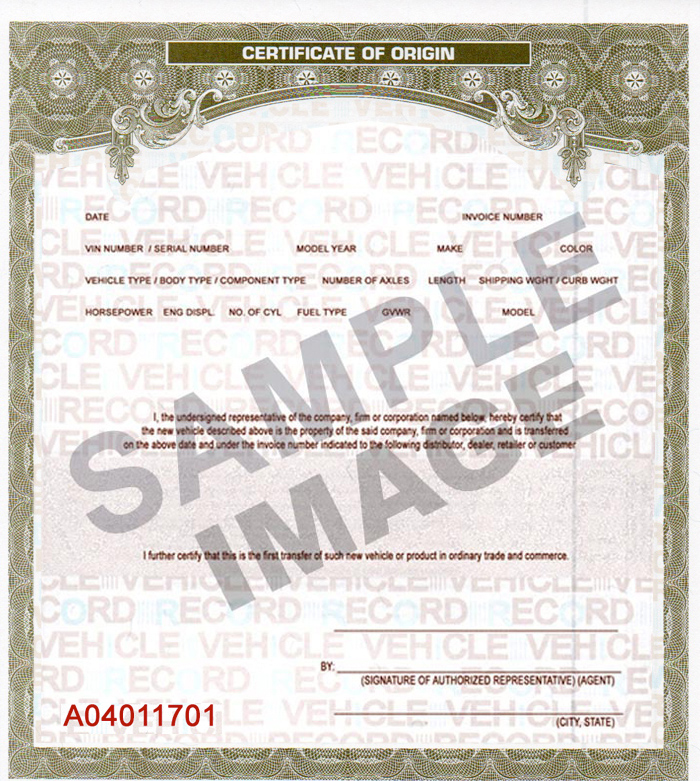 Buy VEHICLE MCOs - certificate of origin template