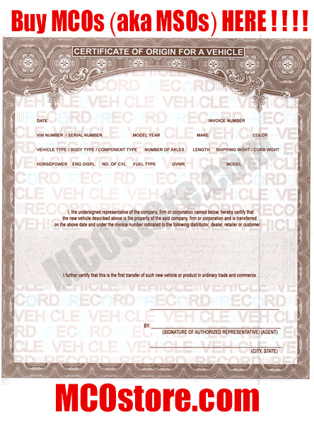 Discount MCO Manufactures Certificates of Origin Vehicles Trailers Boats - example certificate of origin