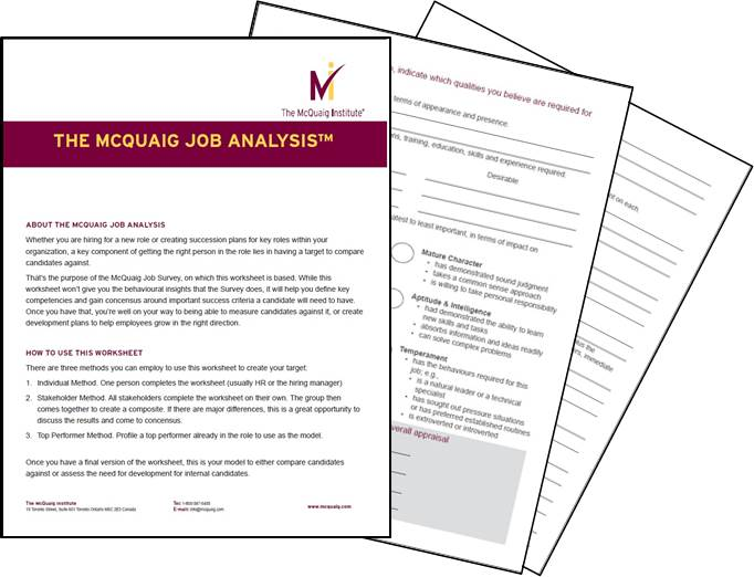 The McQuaig Job Analysis - McQuaig Psychometric System - job analysis