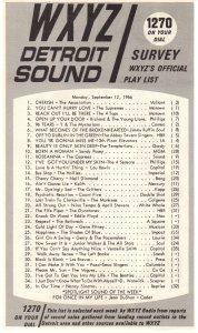 WXYZ-AM  radio survey, September, 1966