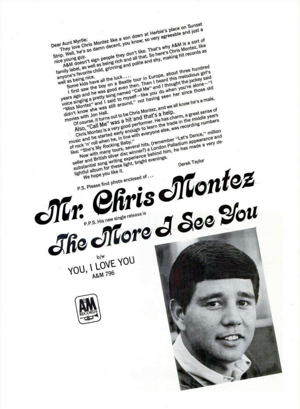 "A A&M RECORDS AD BILLBOARD PAGE RIP: ""The More I See You"" CHRIS MONTEZ March 16, 1966 (click on image 2x for largest view)"