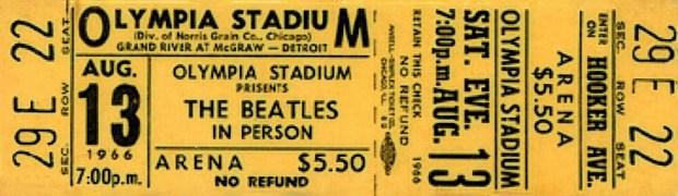 A BEATLES Olympia Stadium ticket stub, 7:00 p.m., August 13, 1966
