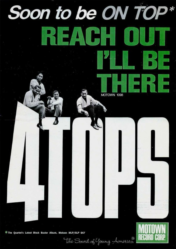 """A BILLBOARD MOTOWN RECORDS AD PAGE RIP: """"Reach Out,"""" The 4 Tops September 17, 1966"""