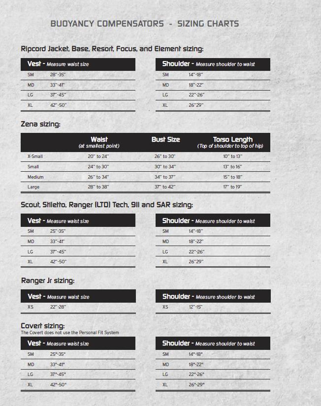 Zeagle BCD Size Chart - Zeagle Express