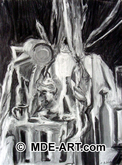 Charcoal Drawing of a Still Life