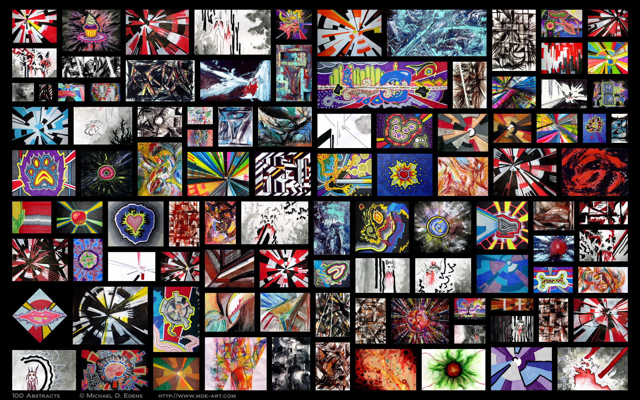 100 Abstracts - Collage of Artwork by Michael D. Edens