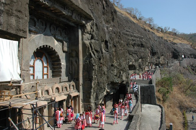 School group at Ajanta caves
